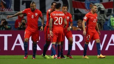Chile celebrate Alexis Sanchez's goal against Germany