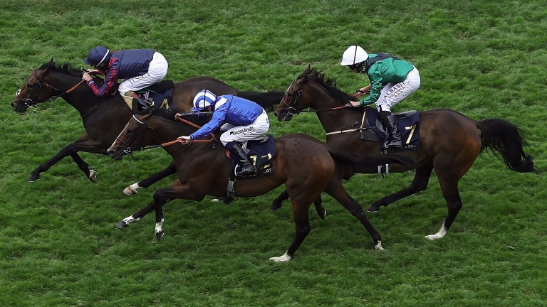 Tom Queally riding The Tin Man leads the Diamond Jubilee Stakes