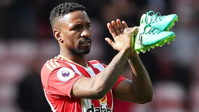 Jermain Defoe of Sunderland applauds the Stadium of Light fans