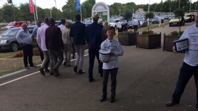 Jack Lander on collection duty at Newmarket