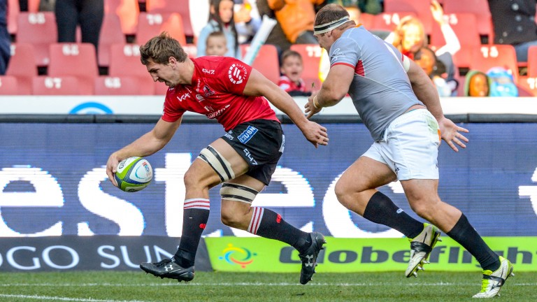 Kwagga Smith scores one of the Lions' eight tries against the Kings