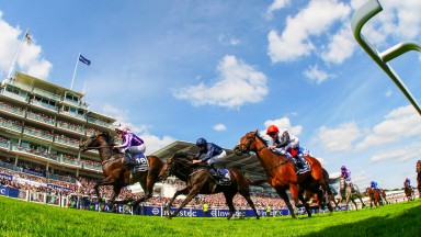 Wings of Eagles (far side) beats Cliffs Of Moher (centre) and Cracksman in the Investec Derby