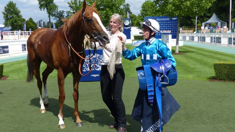 Robin Of Navan with Christina Dunlop and Cristian Demuro after winning La Coupe at Chantilly in June