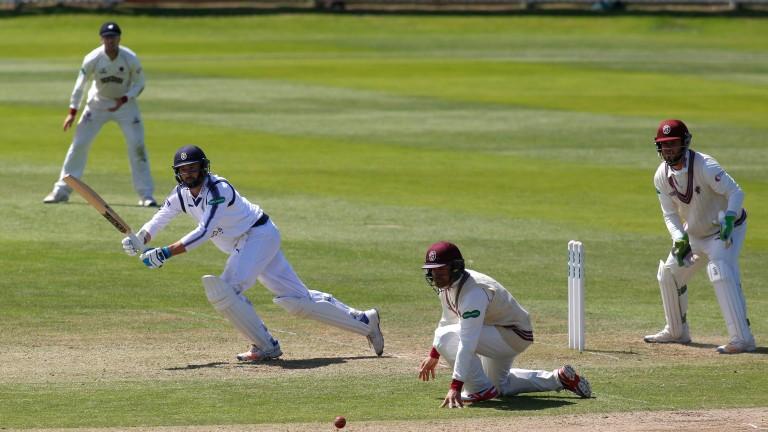 Hampshire captain James Vince clips off his legs against Somerset