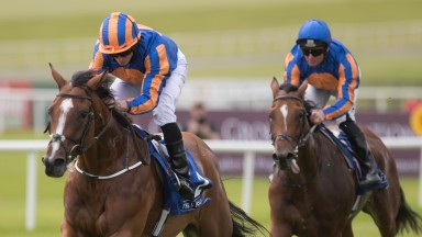 Clemmie (striped cap) lands the Group 3 Grangecon Stud Stakes at the Curragh