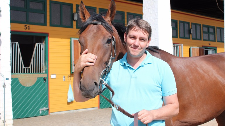 Sea The Moon pictured with trainer Markus Klug, the man who sent him out to win the German Derby by 11 lengths