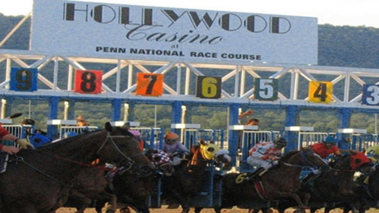 The runners burst from the stalls at Penn National