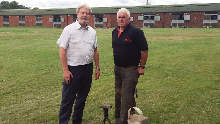 Eric Medwell (left) with racecourse farrier John Dobson