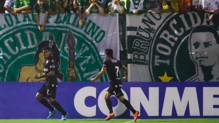 Jose Sand (left) of Lanus celebrates a Copa Libertadores goal