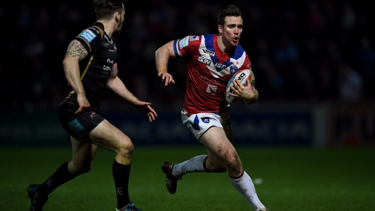 Matty Ashurst of Wakefield in action against Leigh