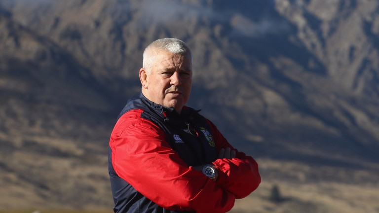 Lions coach Warren Gatland looks on during a training session