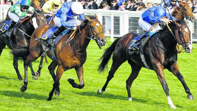 Roussel (left) goes down to stablemate Sound And Silence in the Windsor Castle Stakes