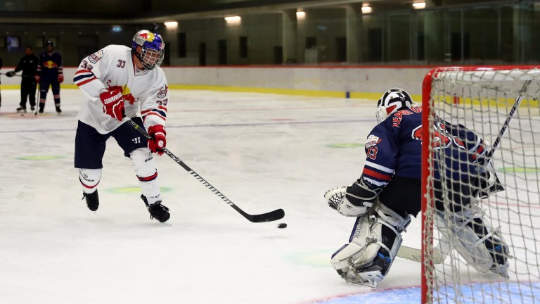 Max Verstappen (left) shows off his ice hockey skills