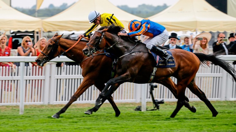 Big Orange (left) fends off Order Of St George to strike in the Ascot Gold Cup