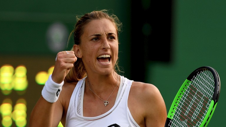 Petra Martic celebrates victory in the second round