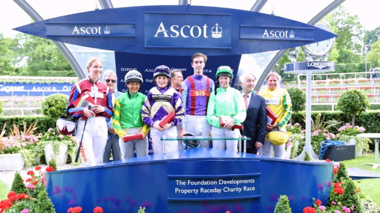 Riders in the 2015 charity race, part of Ascot's Property Race Day