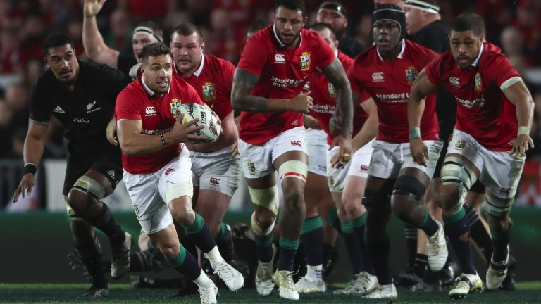 Rhys Webb of the Lions makes a break during the third Test at Eden Park