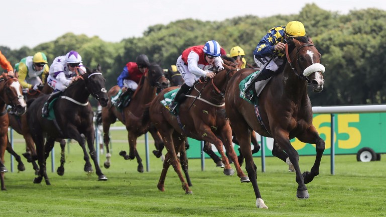 Dylan Mouth (blue and yellow checks) lands the Old Newton Cup under Harry Bentley