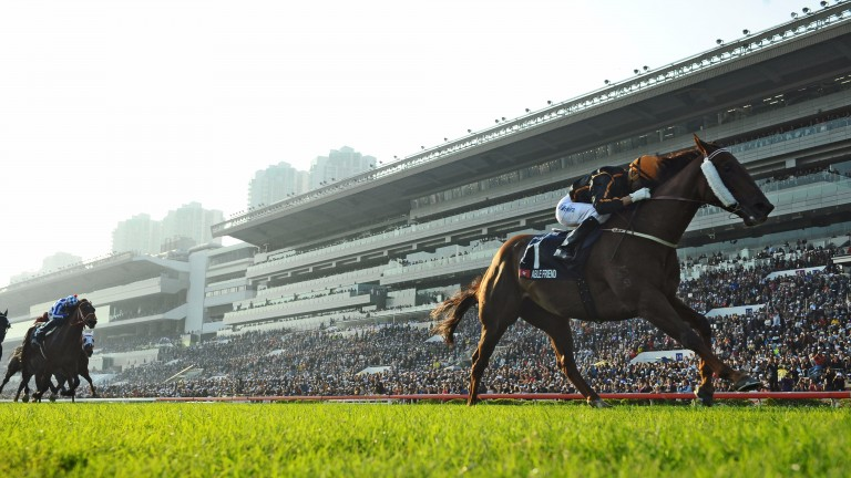 Joao Moreira pictured riding Hong Kong superstar Able Friend to victory in the Hong Kong Mile in 2014