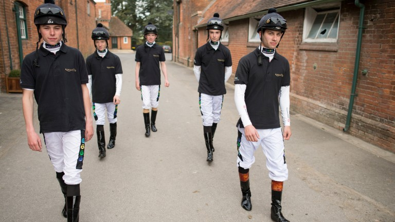 Andrew Balding's apprentices from left: Kieran Shoemark, Edward Greatrex,Rob Hornby, amateur, Hugo Hunt and Thomas Brown at Park House Stables in Kingsclere 14.4.15 Pic: Edward Whitaker