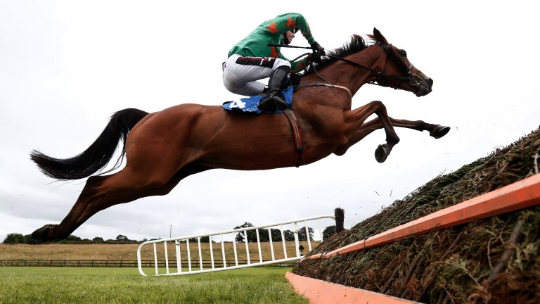 Fly me to the Moon: Baily Moon puts in a tremendous leap under JJ Slevin on their way to victory in the 3m chase