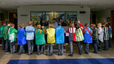 Local pupils and their teachers visit the Ascot weighing room under the Racing to School initiative