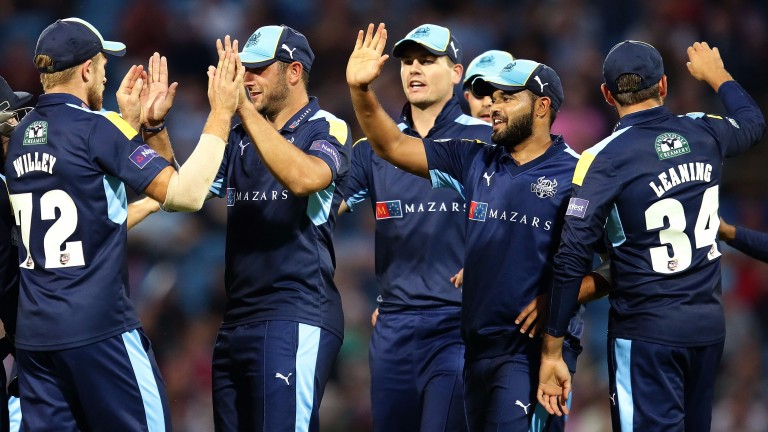 Yorkshire celebrate a wicket against Northamptonshire in last summer's T20 Blast