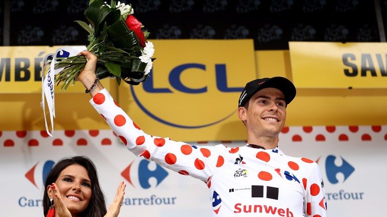 Warren Barguil in the polka dot jersey following stage nine