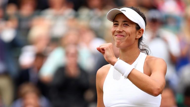 Garbine Muguruza celebrates her quarter-final victory over Svetlana Kuznetsova
