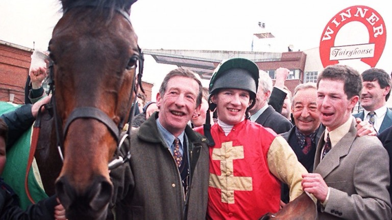 Tommy Carberry with son Paul after Bobbyjo's Irish Grand National success in 1998