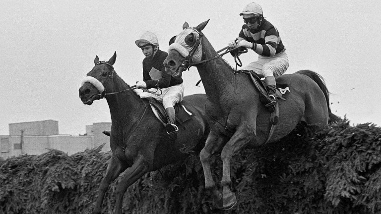 L'Escargot and Tommy Carberry win the 1975 Grand National from Red Rum