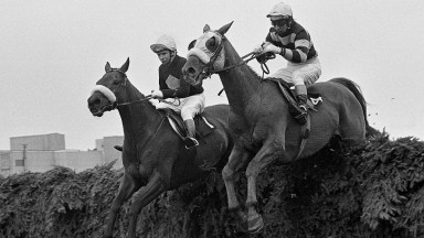 L'Escargot and Tommy Carberry (right) win the 1975 Grand National from Red Rum (left)