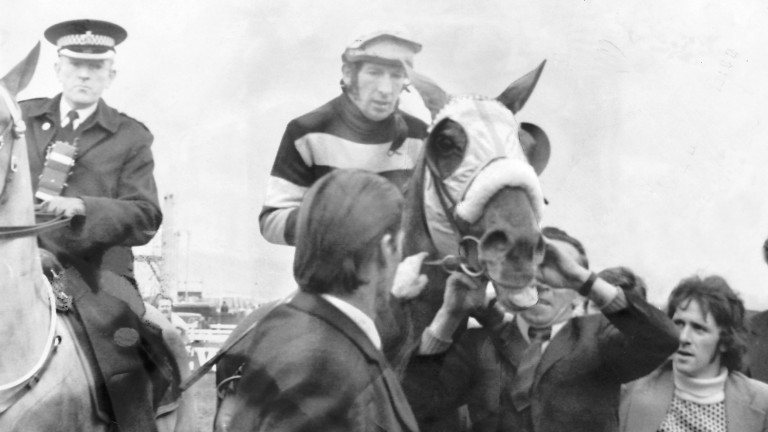 L'Escargot and jockey Tommy Carberry after winning from Red Rum in the 1975 Grand National