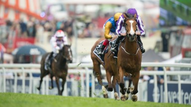 Minding (Ryan Moore) wins The OaksEpsom 3.6.16 Pic: Edward Whitaker