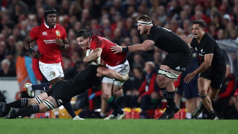 Kieran Read (second right) in action for New Zealand against the Lions