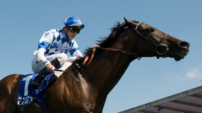 Al Kazeem en route to success in the 2013 Coral-Eclipse - his third consecutive Group 1 win over 10f as a five-year-old