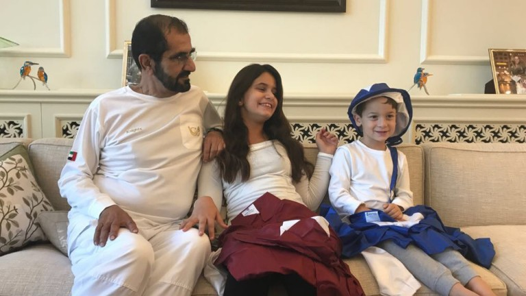 Sheikh Mohammed with daughter Sheikha Al Jalila, son Sheikh Zayed and their new racing colours