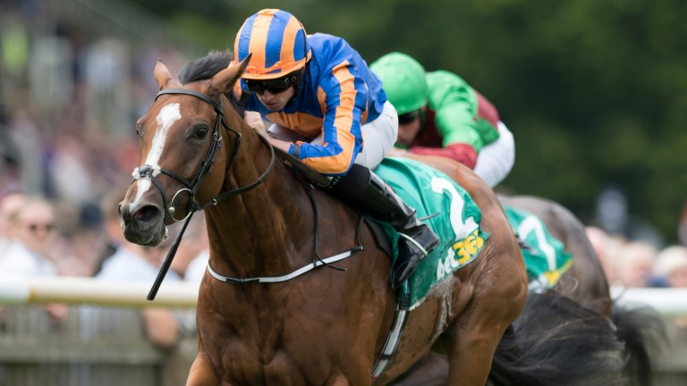 Clemmie (Ryan Moore) wins the Duchess of Cambridge Stakes