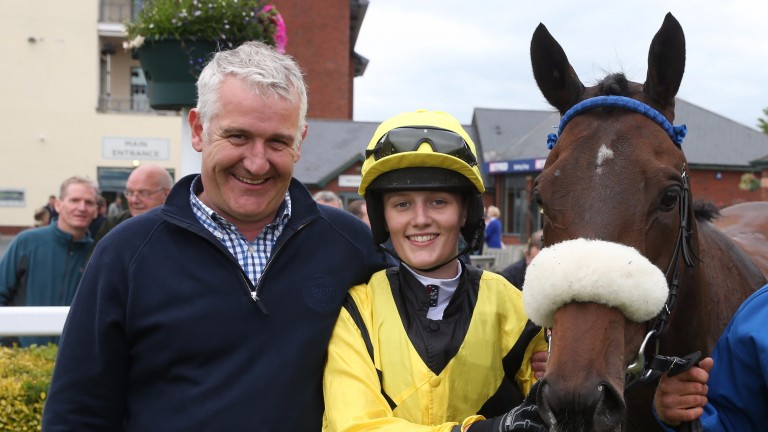 Ella McCain in the Carlisle winner's enclosure with her father Donald and Dark Confidant