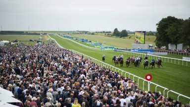 Bunbury climax: a great shot of July Cup day at Newmarket as runners reach the final furlong in the Bunbury Cup