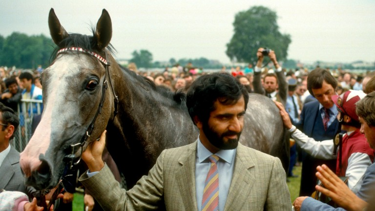 Indian Skimmer and Sheikh Mohammed after the 1987 Prix de Diane