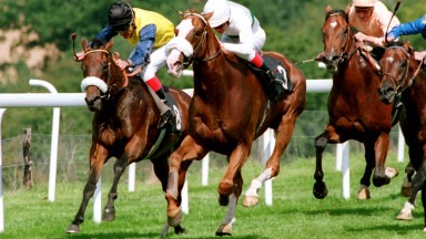 The original Duel on the Downs: Marling (Pat Eddery, far side) fights off Selkirk (Ray Cochrane) in the Sussex Stakes of 1992