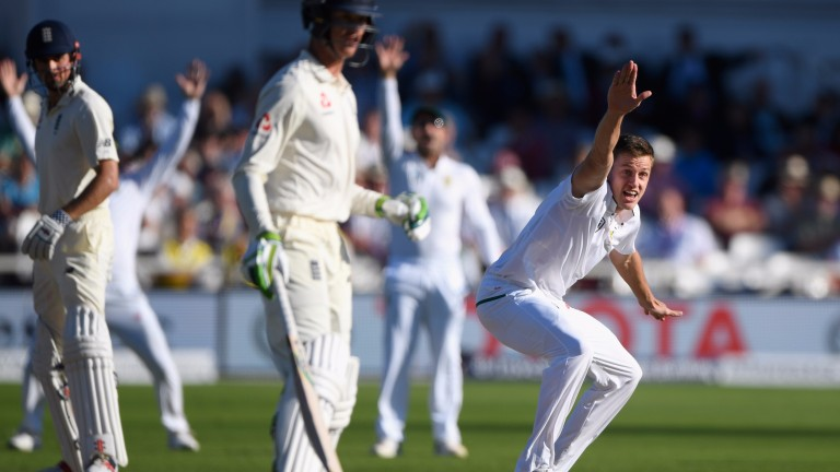 Morne Morkel appeals for the wicket of Alastair Cook, which is overturned on review