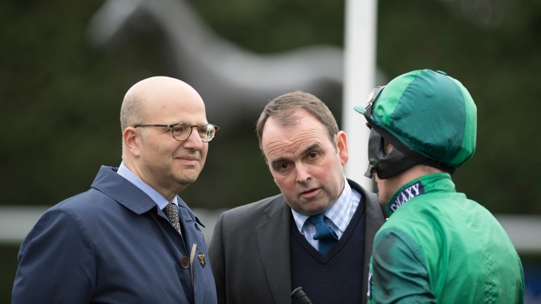 Daryl Jacob debriefs owner Simon Munir (left) and Alan King after a victory at Kempton in April