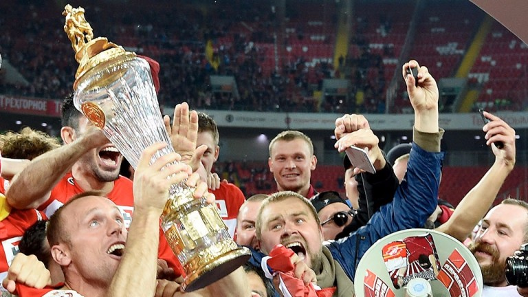 Spartak Moscow celebrate their title success
