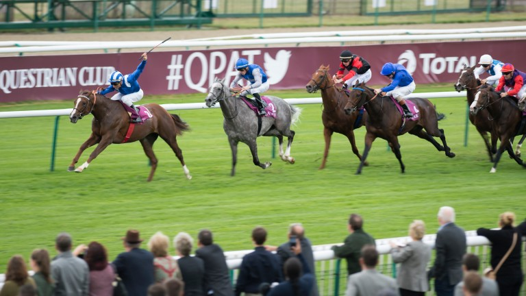 Taareef (left) storms clear of the field to land the Prix Daniel Wildenstein at Chantilly