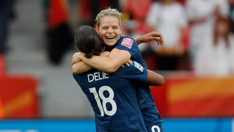 Eugenie Le Sommer and Marie-Laure Delie celebrate a France goal