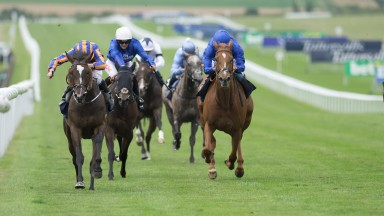 Roly Poly (Ryan Moore,left) beats Wuheida (William Buick) in the Falmouth StakesNewmarket 14.7.17 Pic: Edward Whitaker