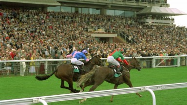 Double Trigger (near side, Jason Weaver) lands the 1995 Goodwood Cup from his brother Double Eclipse ridden by Tyrone Williams