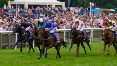 Harry Angel - Adam Kirby wins from Limato - Harry Bentley and Caravaggio - Ryan Moore The Darley July Cup   Newmarket 15/7/2017©cranhamphoto.com